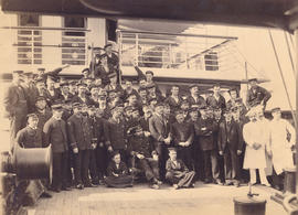 "[Captain, officers and crew on the deck of R.M.S. ""Empress of Japan""]"