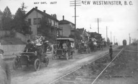 [Automobiles on street for] May Day, New Westminster