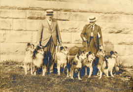 [Mr. E.R. Ricketts and Miss Leigh-Spencer walking their collies]