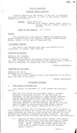 Council Meeting Minutes : Feb. 11, 1975
