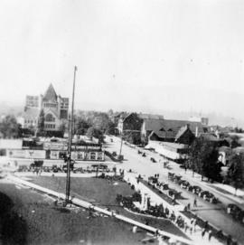 View of the erection of the Court House flagpole