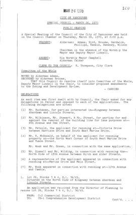 Special Council Meeting Minutes : Mar. 26, 1970