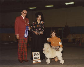 Best in Group [Non-Sporting Group: Miniature Poodle] award being presented at 1976 P.N.E. All-Bre...