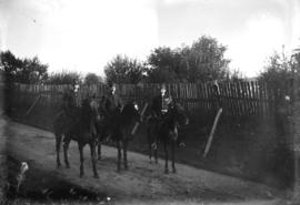 [Three mounted police officers in Stanley Park]