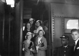 Women athletes leaving [by train] for Eastern Trials