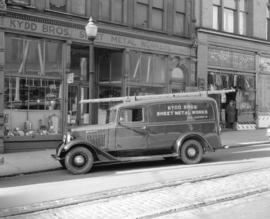 Kydd Brothers [Sheet Metal Works] truck [in front of shop at 160 West Cordova Street]