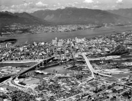 [Aerial view of Vancouver looking north]
