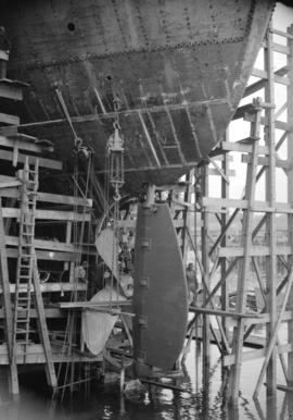 [View of rudder and propellor of a ship at Burrard Drydocks]