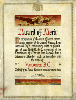 Award of merit in recognition of the most of effective promotion in support of the fourth Victory...