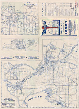 Map of Fraser Valley ; Map of City of New Westminster ; Street map of Richmond, Delta, and Surrey