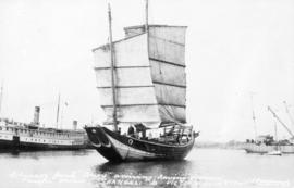 "Chinese Junk ""Amoy"" arriving; having crossed Pacific Ocean, Shanghai to Victoria, B.C. ..."