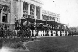 [Exterior of court house prepared for the opening and the arrival of the Duke and Duchess of Conn...