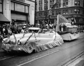 Chesterfield Salon float carrying beauty queens in 1949 P.N.E. Opening Day Parade