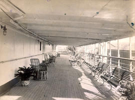 Promenade Deck, Empress of India, looking aft from Grand Saloon entrance