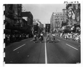 Ferndale High School Golden Eagles flag bearers in 1956 P.N.E. Opening Day Parade