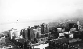 [View of downtown Vancouver from above], Granville and Dunsmuir Streets