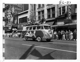 Hart's Auto Gloss decorated Volkswagen Westfalia van in 1956 P.N.E. Opening Day Parade