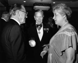 Hugh Pickett and Pat Carney with unidentified man [possibly at Order of Canada presentation]