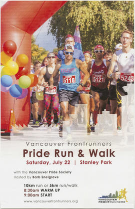 Vancouver Frontrunners pride run and walk : Saturday, July 22 : Stanley Park