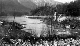 [View of Coquitlam Lake [water intake tower]