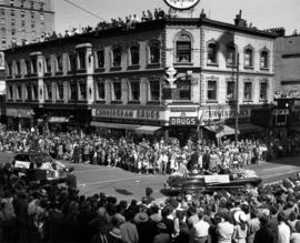Car carrying West Point Grey Community Queen in 1947 P.N.E. Opening Day Parade