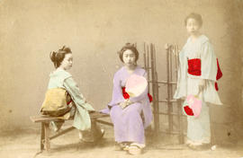 [Studio portrait of three women in traditional Japanese dress]