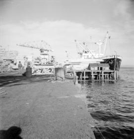 "[View of the wharf at H.R. McMillan Co. with the ""Harmac Alberni"" in dock]"