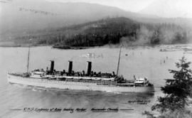 "R.M.S. ""Empress of Asia"" leaving harbor.  Vancouver, Canada."