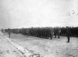 [A Canadian battalion being inspected on the Western Front]