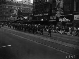 R.C.M.P. marching in 1953 P.N.E. Opening Day Parade