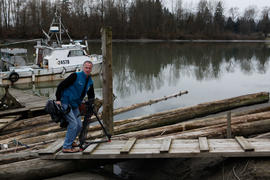 Torch relay cameraman by the Fraser river [2 of 3]