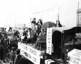 Student campaign U.B.C., the pilgrimage : Arts float, Old Women Government in the shoe