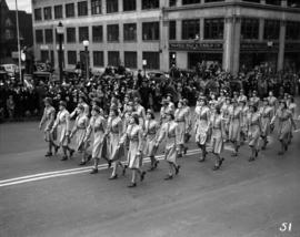 Nurses marching in World War II parade on Burrard Street