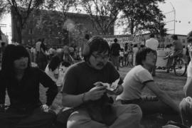People sitting on grass at the 1977 Powell Street Festival