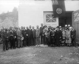 [Men and women assembled for the opening of the Essondale power house]
