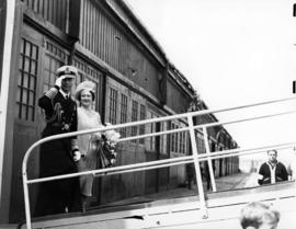 "[King George VI and Queen Elizabeth boarding S.S. ""Prince Robert""]"