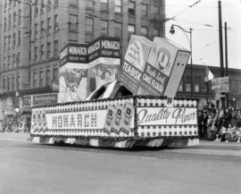 Monarch baking products float in 1949 P.N.E. Opening Day Parade