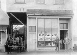 [Exterior of R.V. Palmer's store at 929 Westminster Avenue (Main Street)]