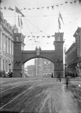 [City of Vancouver arch at Hastings and Granville Streets, erected for visit of Duke and Duchess ...