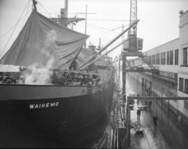 [The 'Waihemo' being loaded at a CPR pier]
