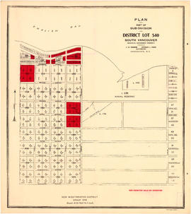Plan of part of subdivision of district lot 540. South Vancouver