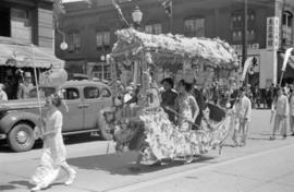 [A float in a parade in Chinatown]