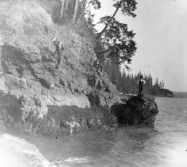 "[Rock formation known as Siwash Rock's wife, also known as the ""Pulpit""]"