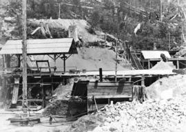 [Buntzen Lake Dam under construction]