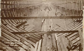 "Interior of ""The Mabel Brown"" in frame - Wallace Shipyards North Vancouver, B.C."