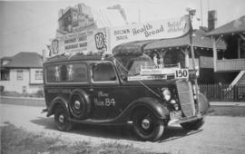 Brown Brothers' Bakery van, decorated for a parade