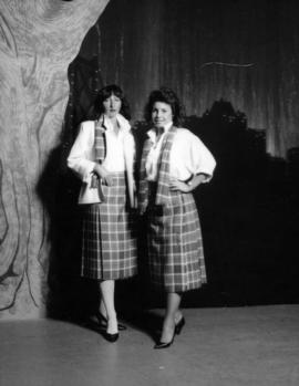 Karen Neveu and Kerry Rasmus model Centennial tartan