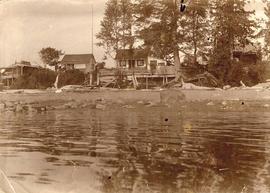 "Robert Marrion's summer cottages, English Bay Beach. ""Marrion's Rock"" in fore..."