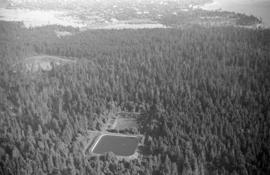 Aerial view over reservoir in Stanley Park, Beaver Lake to the left