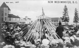 [Crowd around maypole], May Day, New Westminster